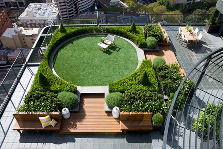 Easy to install rooftop gardens terrace gardens india by for Best house designs with garden